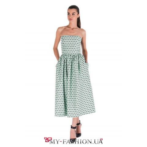 Платье-бандо мятного цвета с сердечками