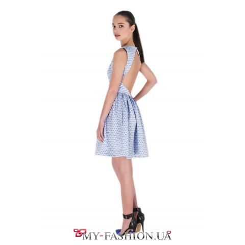 Платье с открытой спиной из французского жаккарда