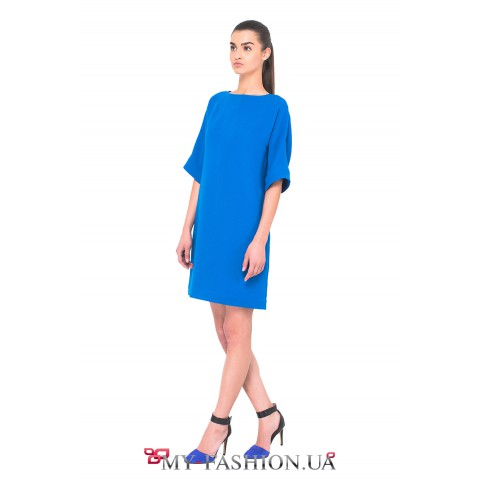 Дизайнерское платье василькового цвета