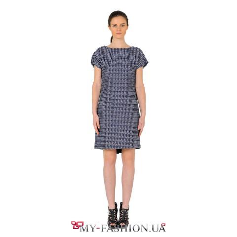 Платье асимметричного кроя из серо-голубой меланжевой нити