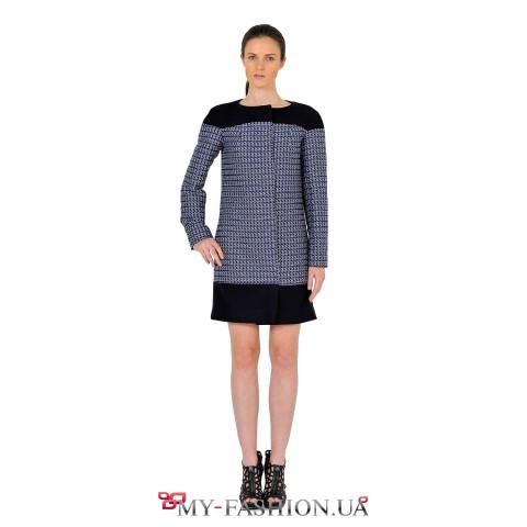 Комбинированное женское осеннее пальто