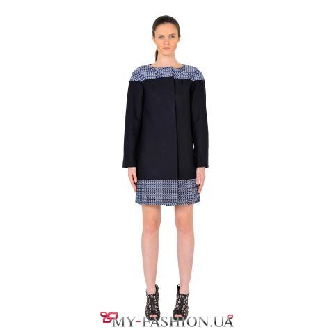 Женское осеннее комбинированное пальто