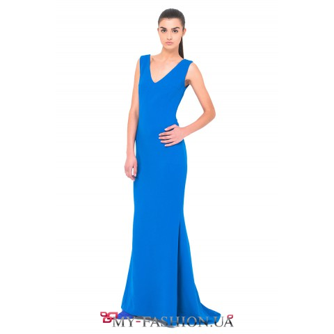 Вечернее платье из вискозы красивого синего цвета