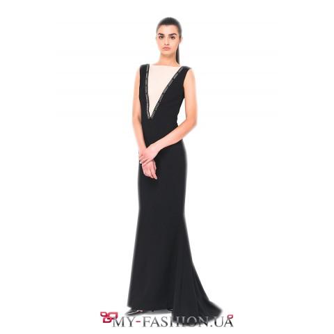 Вечернее платье из вискозы чёрного цвета