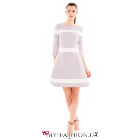 Светлое тёплое платье из натуральной шерсти