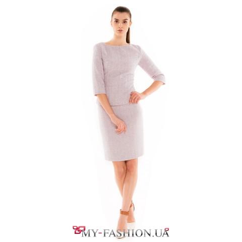 Светлая юбка-карандаш из натуральной шерсти
