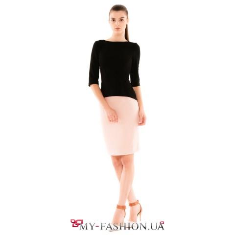 Дизайнерская юбка-карандаш нежно-розового цвета