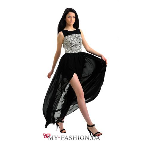 Шикарное комбинированное выпускное платье