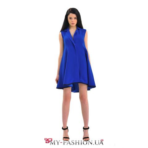Стильное платье-жакет насыщенного синего цвета