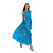 Длинное бирюзовое платье с пояском
