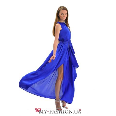 Длинное праздничное платье синего цвета