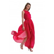 Длинное платье на выпускной малинового цвета