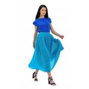 Голубая шифоновая юбка средней длины