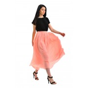 Карамельная шифоновая юбка средней длины
