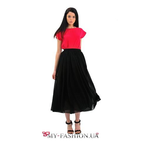 Чёрная шифоновая юбка средней длины