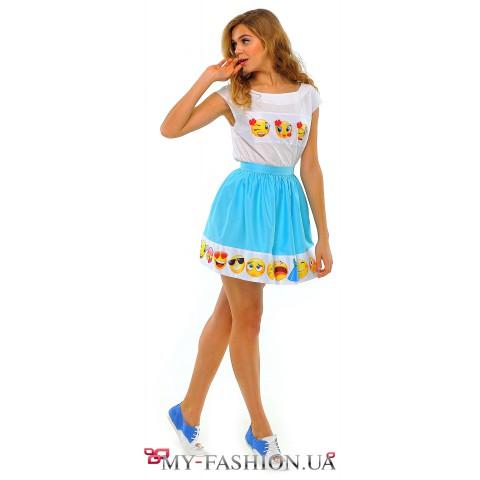 Голубая хлопковая юбка средней длины