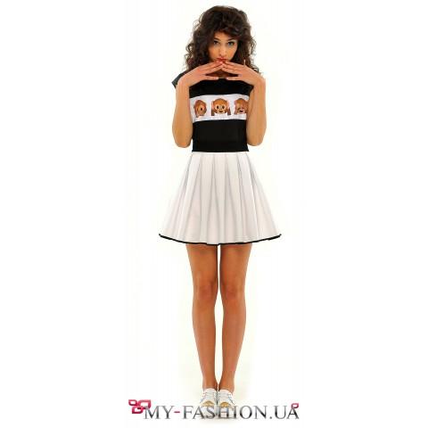 Пышная белая юбка-мини с окантовкой