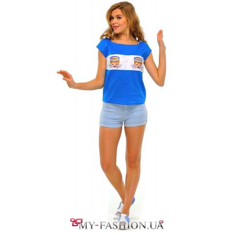 Синяя женская футболка с принтом