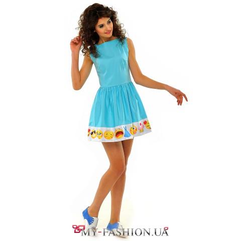 Летнее платье из хлопка с принтом