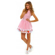 Розовое лёгкое платье с принтом на юбке