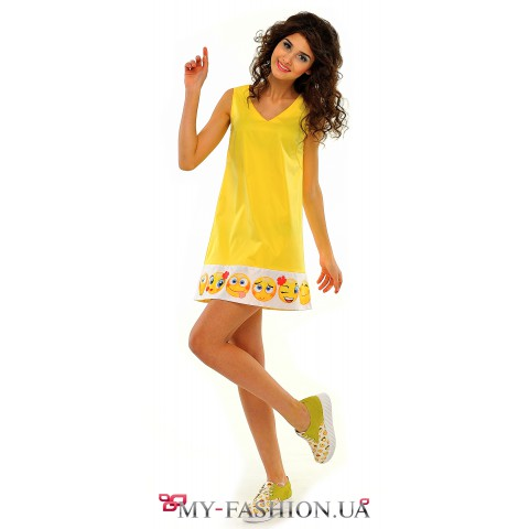 Жёлтое платье-сарафан трапециевидного силуэта