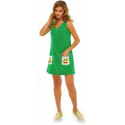 Короткое зелёное платье-сарафан трапециевидного силуэта