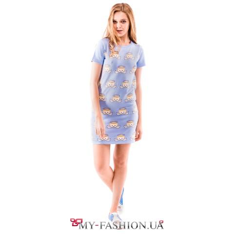 Молодёжное трикотажное платье с коротким рукавом