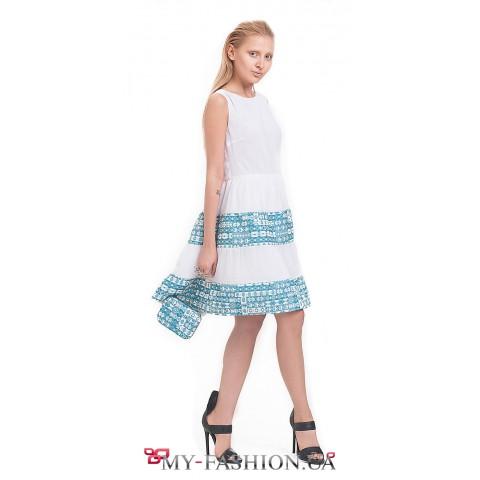 Белое асимметричное платье на лето