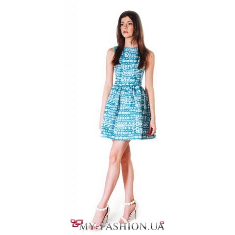 Платье c расклешённой юбкой из французского жаккарда