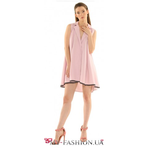 Асимметричное платье-жакет нежно-лилового цвета
