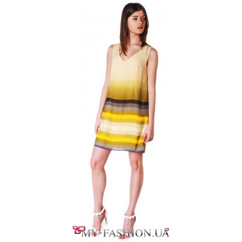 Жёлтое платье-сарафан А-образного силуэта