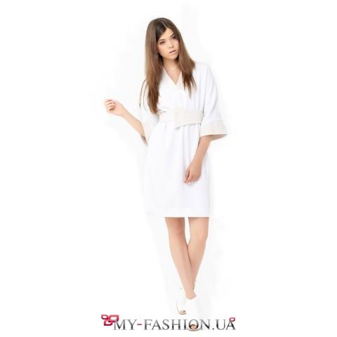 Белое платье на запах из вискозы
