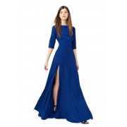 Длинное синее платье из струящегося мокрого шёлка