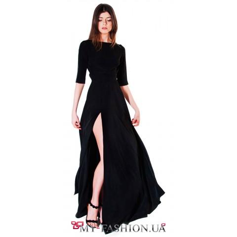 Длинное платье из струящегося мокрого шёлка