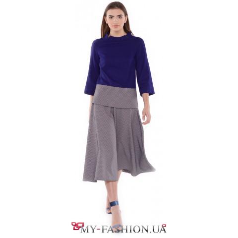 Стильная шерстяная юбка-солнце клеш