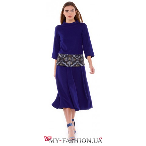 Шерстяная юбка-солнце клеш насыщенного синего цвета