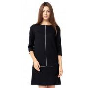 Стильное чёрное платье прямого силуэта