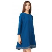 Стильное синее платье А-образного силуэта