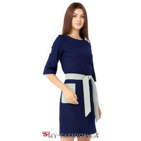 Шерстяное платье классического кроя с накладными карманами