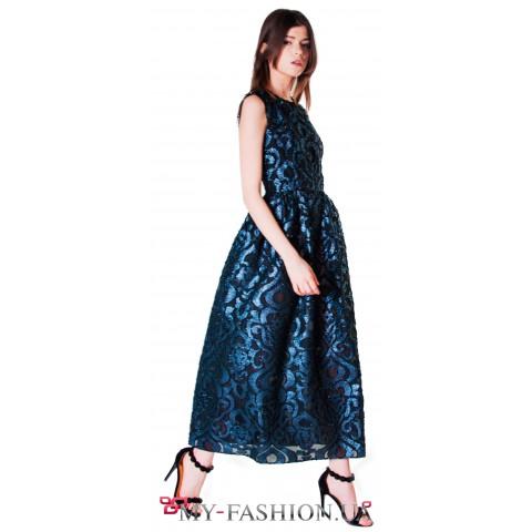 Платье средней длины из французского жаккарда