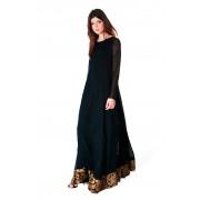 Платье-макси из вискозы и шёлка чёрного цвета в наличии S