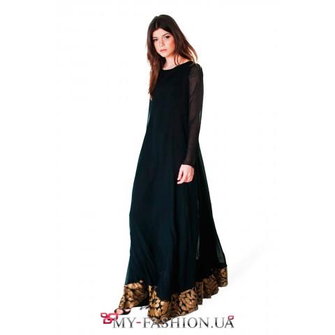Платье-макси из вискозы и шёлка чёрного цвета
