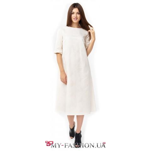 Белое платье-трапеция из фактурного жаккарда с шёлком