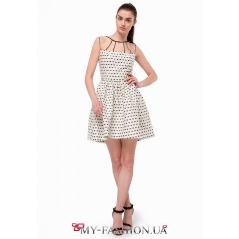 Платье Fit-and-flare молочного цвета
