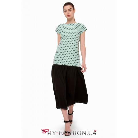 Платье-шифт с оригинальным расклешенным подолом