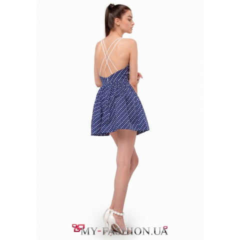 Очаровательное темно-синее платье силуэта Fit-and-flare