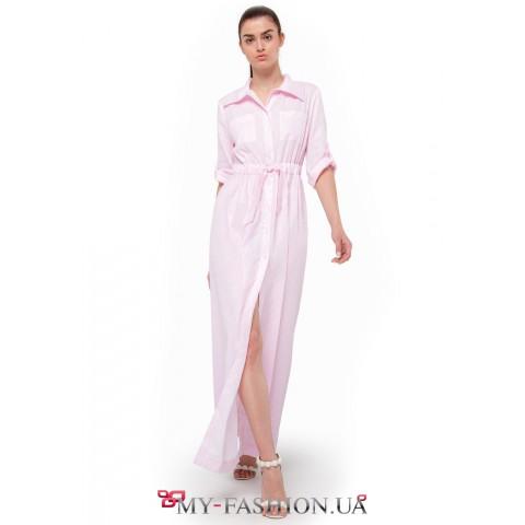 Стильное платье-рубашка пудрового цвета