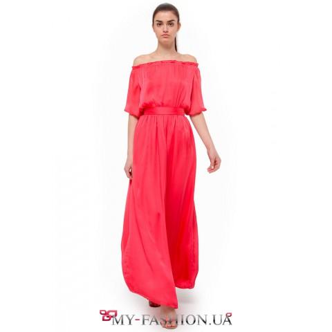 платье из шелкового шифона кораллового цвета