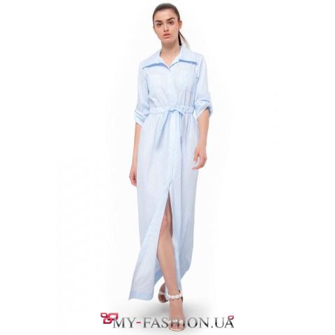 Платье-рубашка макси пастельного -голубого цвета