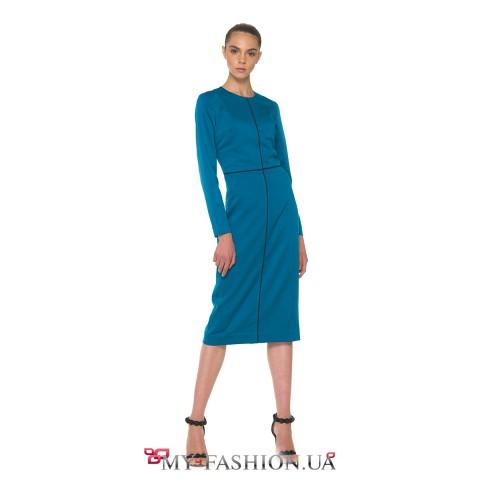 Платье-футляр миди длині сапфирового цвета